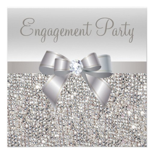 Silver Sequins, Bow & Diamond Engagement Party Invite