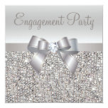 Silver Sequins, Bow & Diamond Engagement Party Personalised Invitation