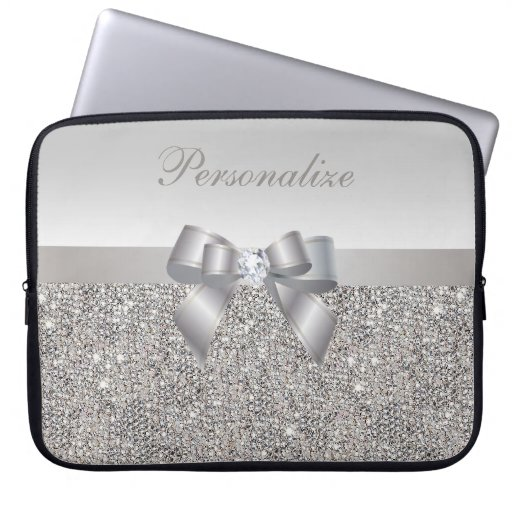 Silver Sequins, Bow & Diamond Personalized Laptop Computer Sleeve