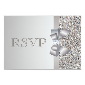 Silver Sequins, Bow & Diamond RSVP Wedding 9 Cm X 13 Cm Invitation Card