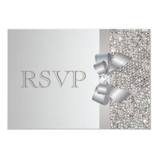 Silver Sequins, Bow & Diamond RSVP Wedding Card
