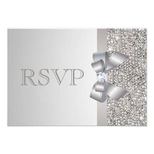 Silver Sequins, Bow & Diamond RSVP Wedding Personalized Announcements