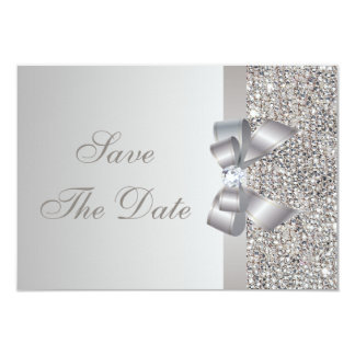 Silver Sequins, Bow & Diamond Save the Date 9 Cm X 13 Cm Invitation Card