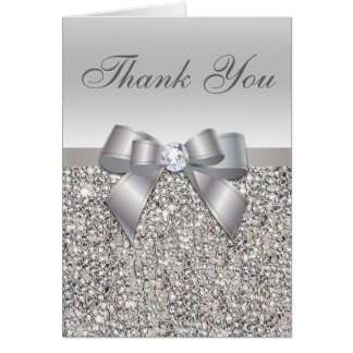 Silver Sequins, Bow & Diamond Thank You Card