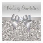 Silver Sequins, Bow & Diamond Wedding Invites