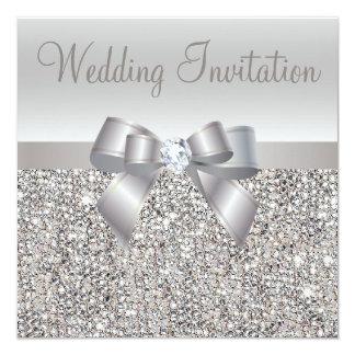 """Silver Sequins, Bow & Diamond Wedding Invites 5.25"""" Square Invitation Card"""