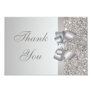 Silver Sequins, Bow & Diamond Wedding Thank You Card