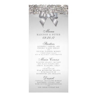 Silver Sequins Bow Wedding Menu Rack Card Template