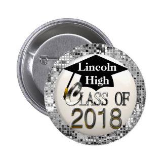 Silver Sequins Class Of 2018 Graduation Button