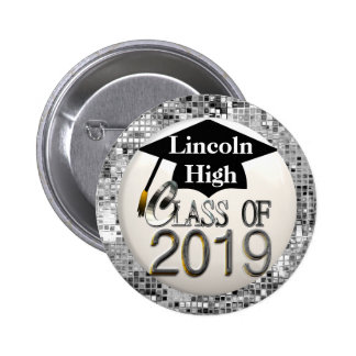 Silver Sequins Class Of 2019 Graduation Button