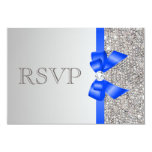 Silver Sequins Diamond Royal Blue Bow Wedding RSVP 9 Cm X 13 Cm Invitation Card