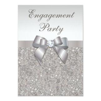 Silver Sequins Diamonds Bow Engagement Party 13 Cm X 18 Cm Invitation Card