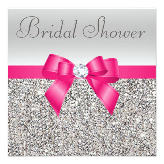 Silver Sequins Hot Pink Bow Diamond Bridal Shower 13 Cm X 13 Cm Square Invitation Card