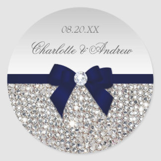 Silver Sequins Navy Bow and Diamond Wedding Round Sticker