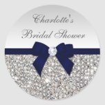 Silver Sequins Navy Bow Diamond Bridal Shower Round Sticker
