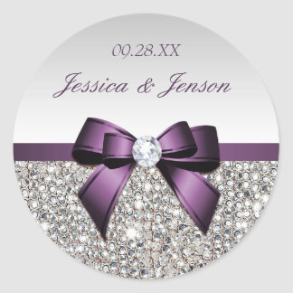 Silver Sequins Purple Bow and Diamond Wedding Round Sticker