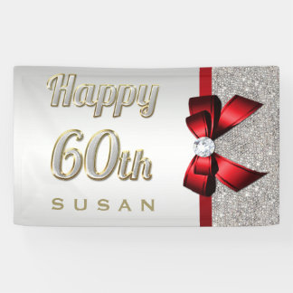 Silver Sequins Red Faux Bow 60th Birthday Banner