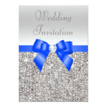 Silver Sequins Royal Blue Bow and Diamond Wedding
