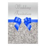 Silver Sequins Royal Blue Bow and Diamond Wedding 13 Cm X 18 Cm Invitation Card