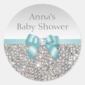 Silver Sequins Teal Bow Diamond Baby Shower Round Sticker