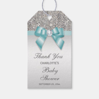 Silver Sequins Teal Diamond Bow Baby Shower Gift Tags