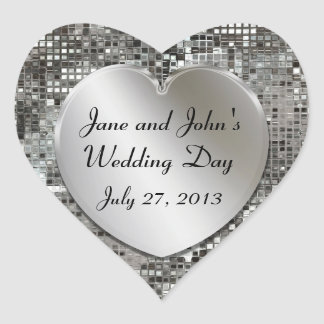 Silver Sequins Wedding Hearts Stickers