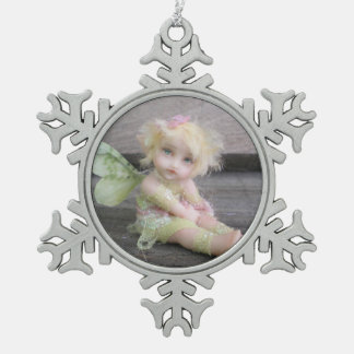 Silver Shabby Fairy Pewter Snowflake Decoration