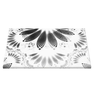 Silver Shikoba, Beautiful BnW Fractal Feathers Canvas Print