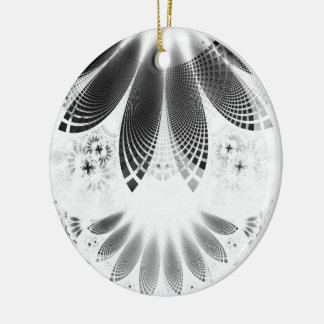 Silver Shikoba, Beautiful BnW Fractal Feathers Ceramic Ornament