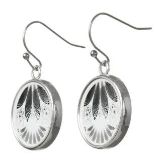 Silver Shikoba, Beautiful BnW Fractal Feathers Earrings