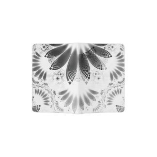 Silver Shikoba, Beautiful BnW Fractal Feathers Passport Holder
