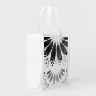 Silver Shikoba, Beautiful BnW Fractal Feathers Reusable Grocery Bag