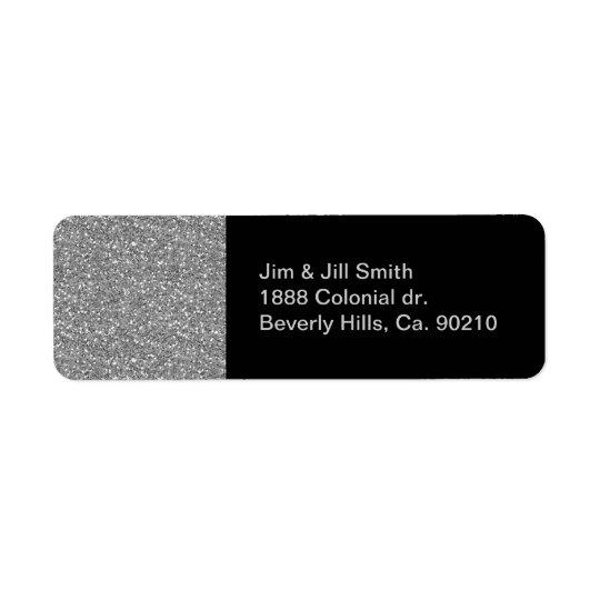 Silver Shimmer Glitter Return Address Label