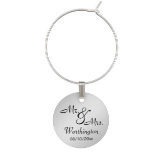 Silver Shine Mr. and Mrs. Memento Wine Glass Charms