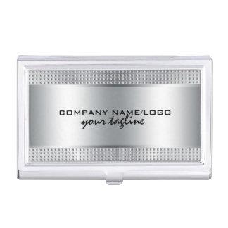 Silver Shiny Metallic Design-Stainless Steel Look Business Card Holder