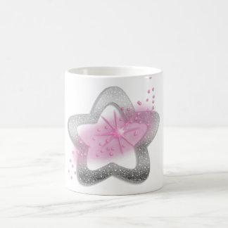 silver shiny star basic white mug