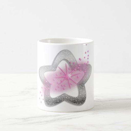 silver shiny star coffee mugs