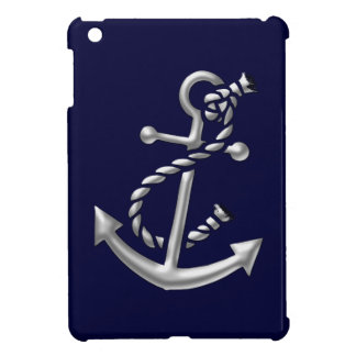 Silver Ship's Anchor Nautical Maritime Theme iPad Mini Cover