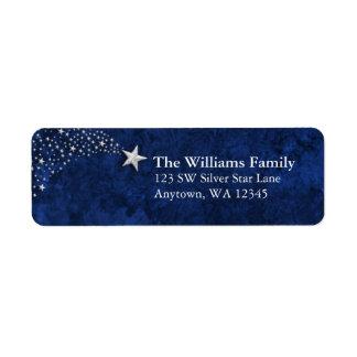 Silver Shooting Stars Blue Return Address Return Address Label