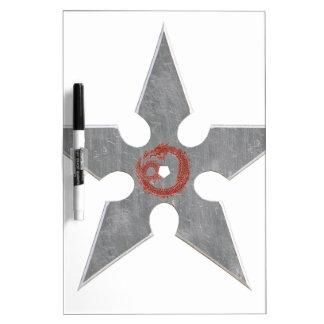 Silver Shuriken with Red Dragon Dry-Erase Board