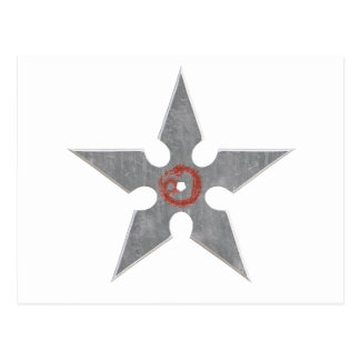 Silver Shuriken with Red Dragon Postcard