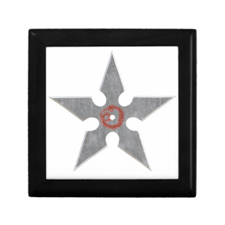 Silver Shuriken with Red Dragon Small Square Gift Box