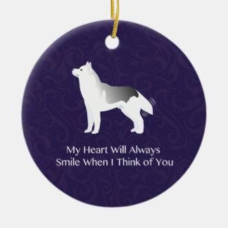 Silver Siberian Husky Dog Thinking of You Ceramic Ornament