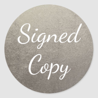 Silver Signed Copy Classic Round Sticker