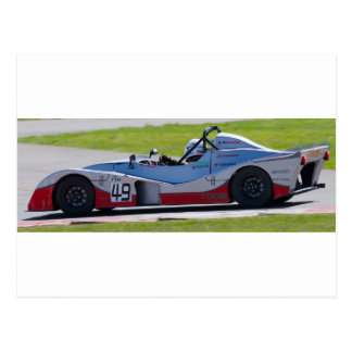 Silver single seater race car postcard