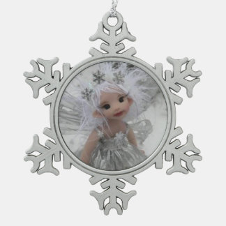 Silver Sister Fairy Pewter Snowflake Decoration