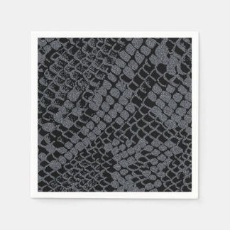 Silver Snake Print Paper Cocktail Napkins Disposable Napkin