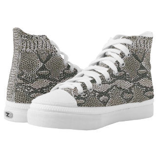 Silver Snake Skin Pattern Shoes