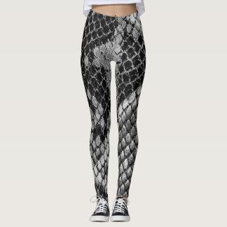 Silver Snakeskin Pattern Leggings