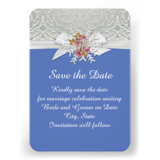 Silver Snow Damask Ribbon Blue Save the date Custom Invite